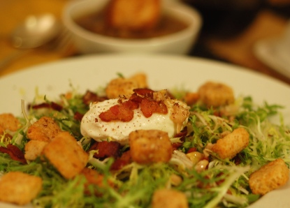 Frisee salad, french food, onion soup, food and wine, food and drink, food, cooking, eating, recipes, culinary, organic, eggs, bacon, salad, soup, onions