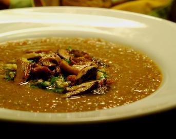 Eat Local Challenge:  Mushroom Soup with Hazelnut Gremolata