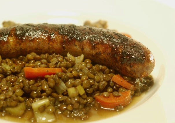 lentils, lamb sausage, mergeza, cooking, culinary, eating, dinner, food and wine, recipes, food blog