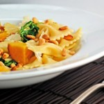 Farfalle with Golden Beets, Beet Greens and Pinenuts