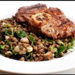 Veal Shanks with lentil salad