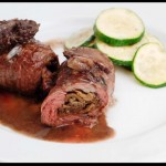 Stuffed Flap Steak with Wild Morels and Ramps