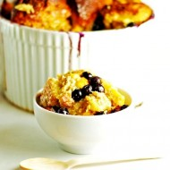 Nectarine and Blueberry Challah Bread Pudding