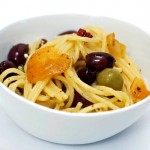 Pasta with Olives, Goat Cheese and Garlic Chips