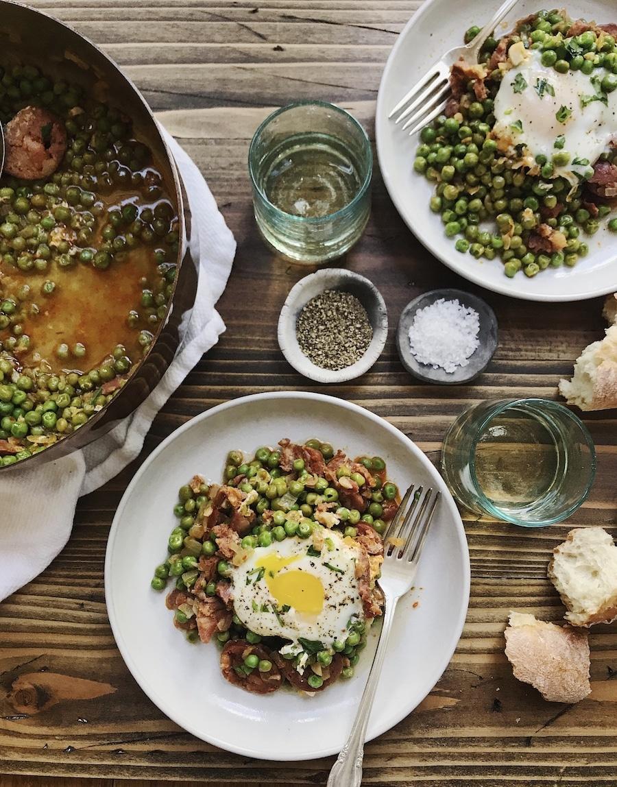 Ervilhas com Ovos Portuguesa: Portuguese Style Peas and Chorizo