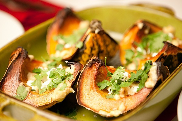 Roast Squash with Goat Cheese and Tahini Dressing