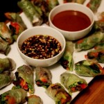Spring Rolls with Green Garlic Soy Dipping Sauce
