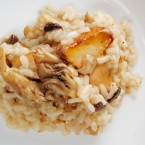 Aged Black Garlic Risotto with Chanterelle and Oyster Mushrooms