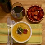 Butternut Squash Soup with Crispy Chorizo Croutons