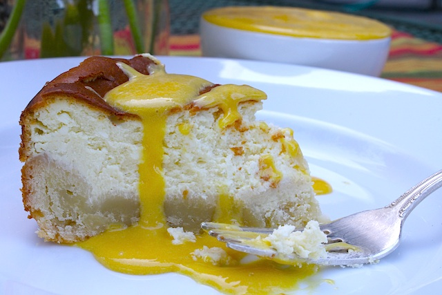 Goat Cheese Cheesecake with Passion Fruit Curd