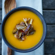 Ancho Chili Butternut Squash Soup with Mushroom Medley