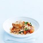 Spicy chicken, pumpkin and roasted garlic rice