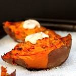 Twice Baked Sweet Potatoes with Chipotle Cream