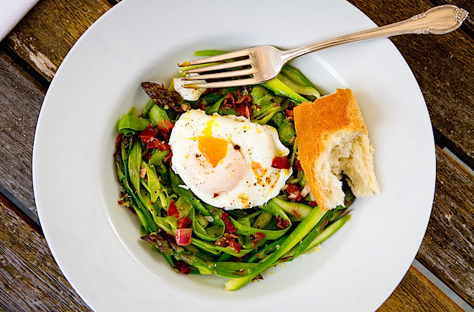 Shaved Asparagus Salad with a Poached Egg