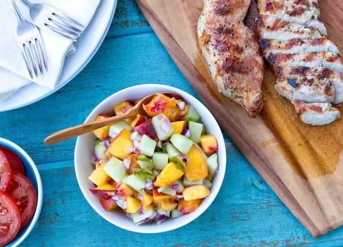 Grilled Peach and Cucumber Salsa