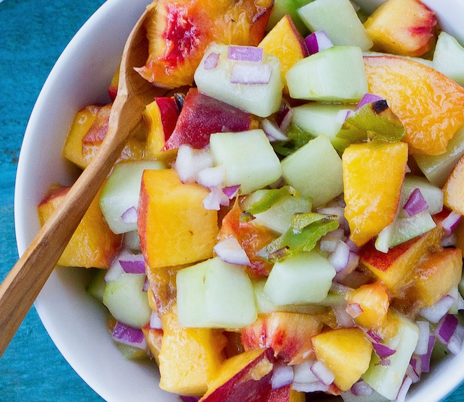 Grilled Peach And Cucumber Salsa Recipe — Dishmaps
