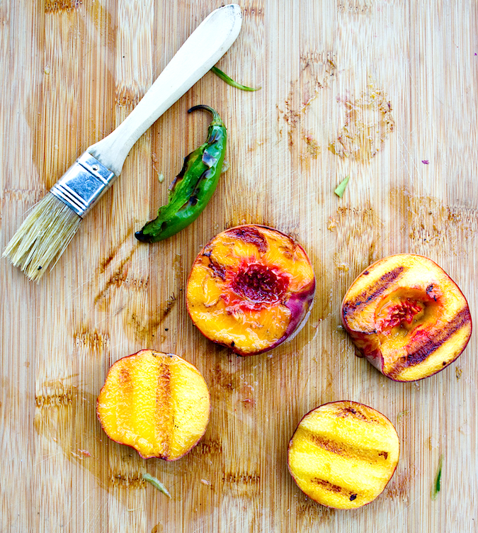Grilled Peach and Cucumber Salsa - Chez Us