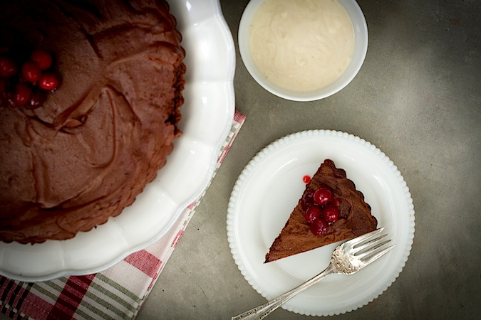 Flourless Chocolate Tart with Sugared Cranberries - Chez Us