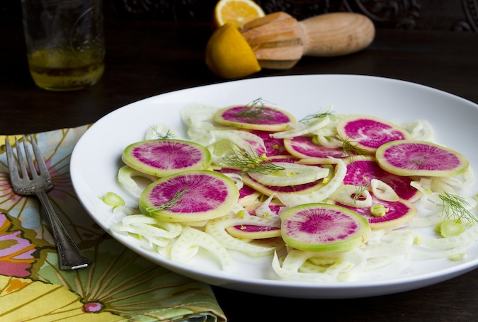 Watermelon Radish and Fennel Salad with Meyer Lemon Vinaigrette - Chez ...