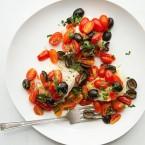 Fish Fillets with Warm Tomato Olive Vinaigrette