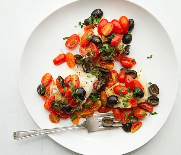 Fish Fillets with Warm Tomato Olive Vinaigrette