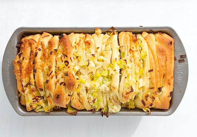 Cheesy, Green-Garlic Pull-Apart Bread