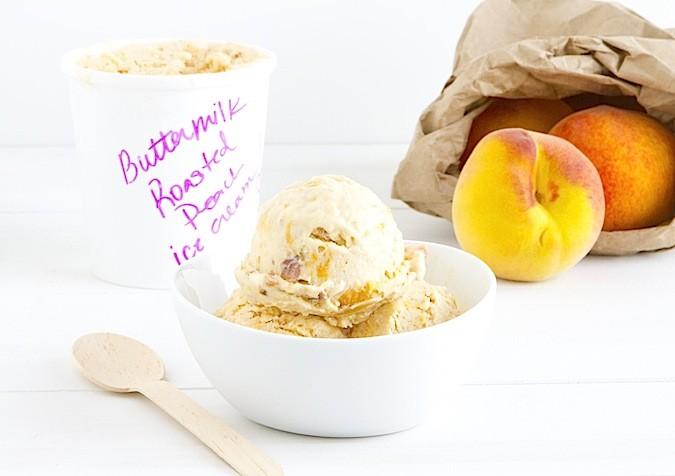 Roasted Peach Buttermilk Ice Cream - Chez Us
