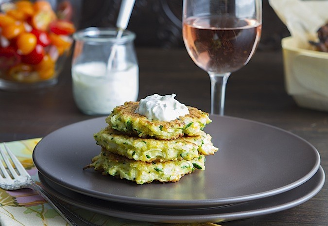Zucchini Pancakes with Minty Dill Creme Fraiche - Chez Us