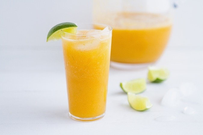 Cantaloupe Lime Agua Fresca Chez Us Juice 1/2 pineapple with a large slice of cantaloupe (rind ok). chez us