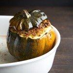Acorn Squash Stuffed with Pancetta, Quinoa, and Walnuts