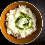 Celery Root and Potato Mash with Parsley Oil Drizzle