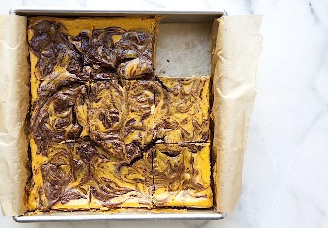 Pumpkin Cheesecake with Chocolate Swirls