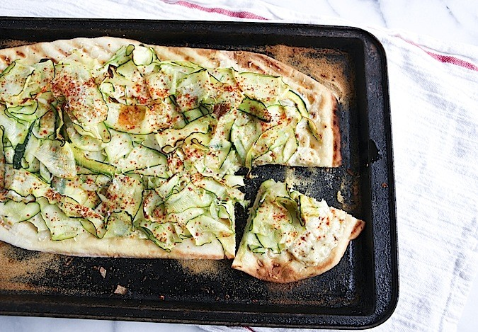 Flatbread with Zucchini and Mascarpone Cheese