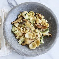 Orecchiette with Sweet White Corn and Shiitake Mushrooms