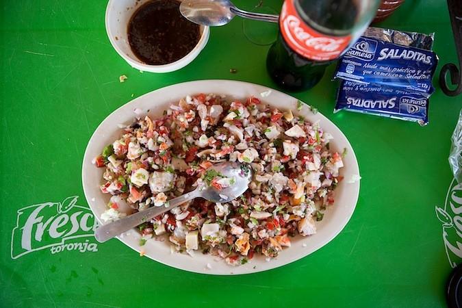 Ceviche at Chavas Todos Santos Mexico