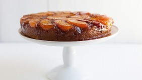 Upside Down Peach Bourbon Cake