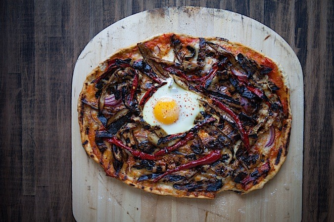 Grilled Eggplant and Carmen Pepper Pizza - Chez Us