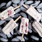 Vanilla Ice Cream Popsicles with Roasted Strawberry Swirls