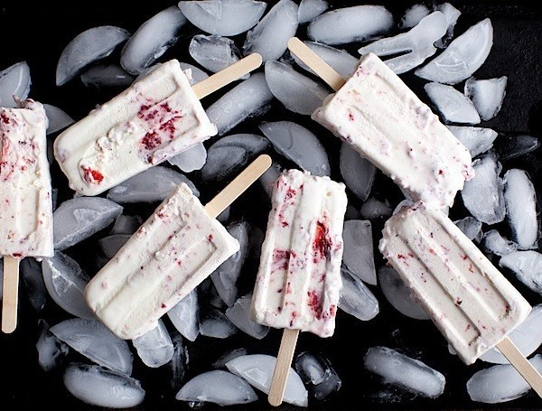 Vanilla Ice Cream Popsicles with Roasted Strawberry Swirls
