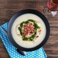 Roasted Potato Garlic Soup with Parsley Olive Oil | Chez Us