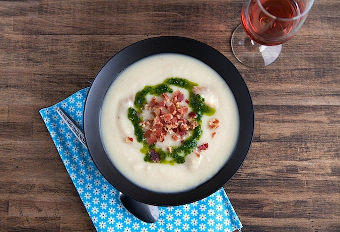 Roasted Potato Garlic Soup with Parsley Olive Oil   Chez Us