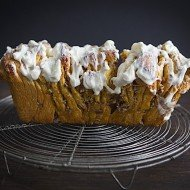 Pumpkin Pecan Pull-Apart Bread with Maple Bourbon Icing