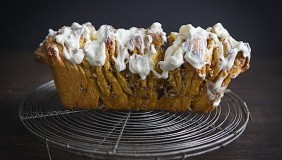 Pull Apart Pumpkin Pecan Bread with Maple Bourbon Icing