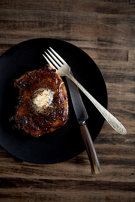 Maple Pan Fried Pork Chops with Compound Butter