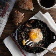 Spinach Bacon Mushroom Baked Eggs