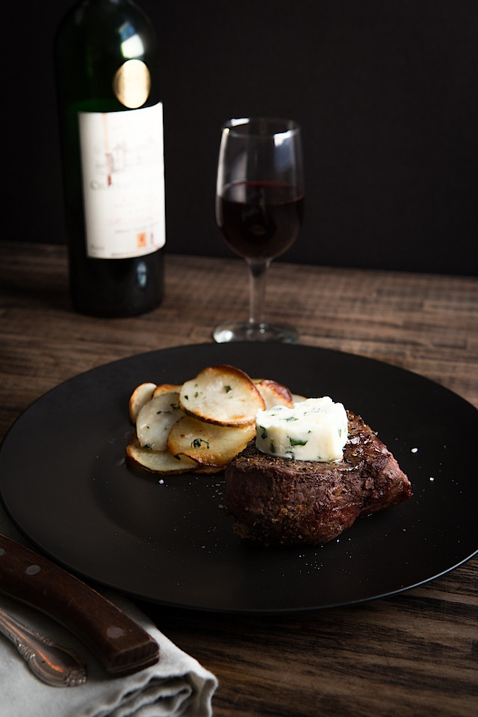 Porcini Crusted Tenderloin Filet with Fresh Herb Butter | Chez Us