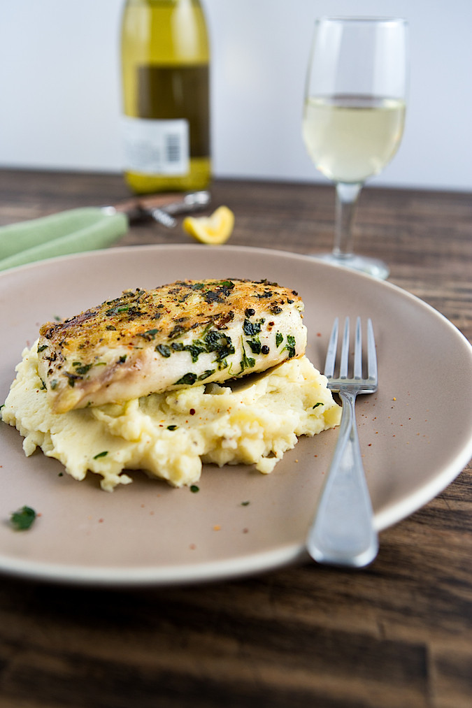 Roasted Paiche with Garlic Potato Puree | Chez Us