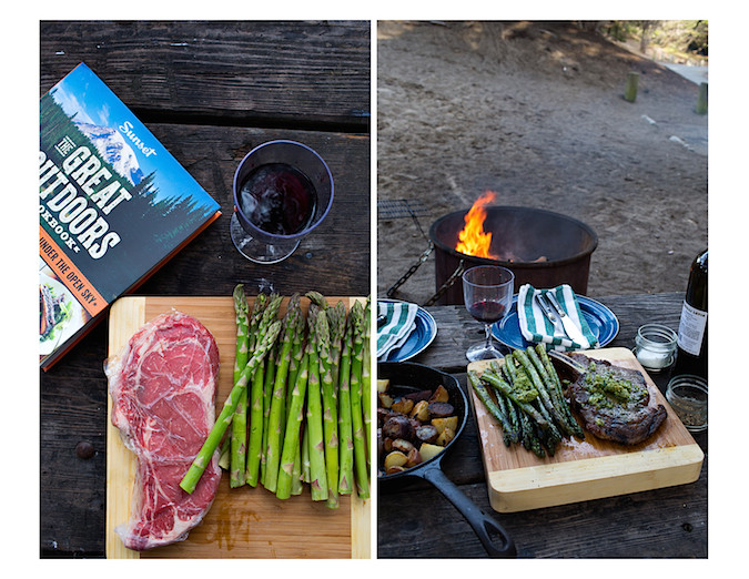 Rib Eye Steaks with Pistachio Butter and Asparagus