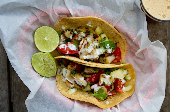 Pan grilled fish tacos chez us for How to cook cod for fish tacos