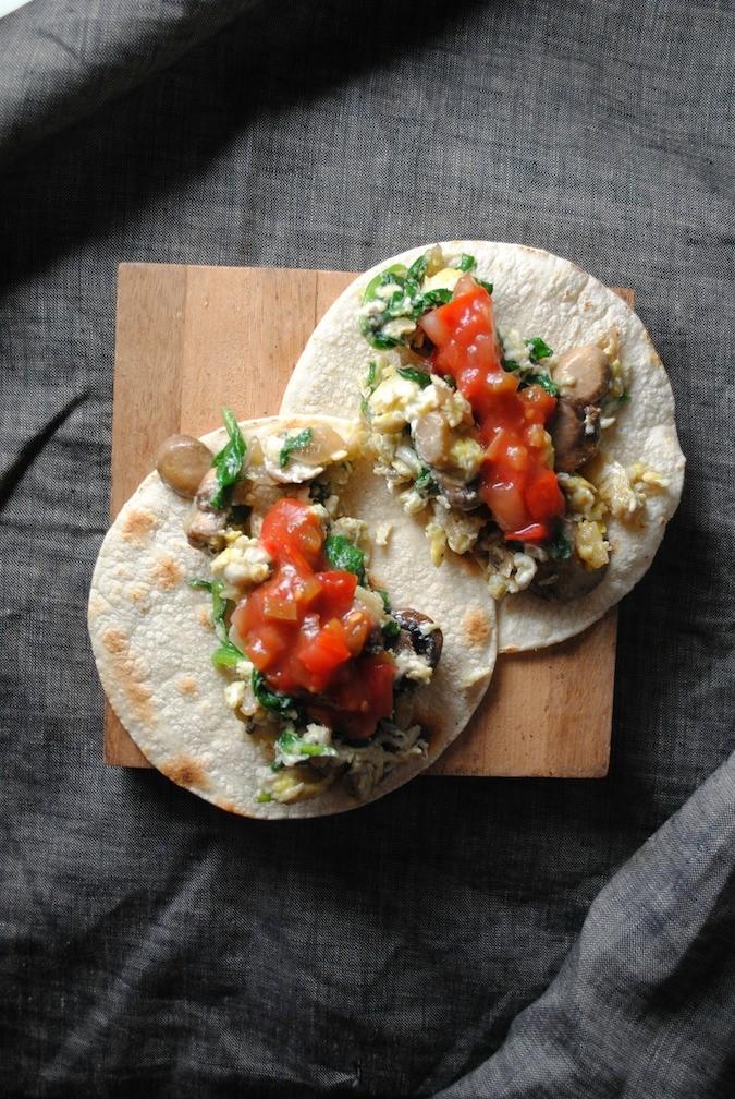 Mushroom- Spinach Breakfast Tacos with Salsa Fresca